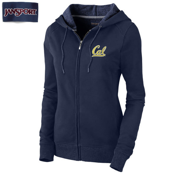 UC Berkeley Cal Embroidered Jansport Women's Zip Hoodie Sweatshirt-Navy-Shop College Wear