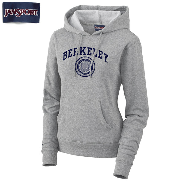 UC Berkeley Arch & Seal Jansport Women's Hoodie Sweatshirt-Gray-Shop College Wear