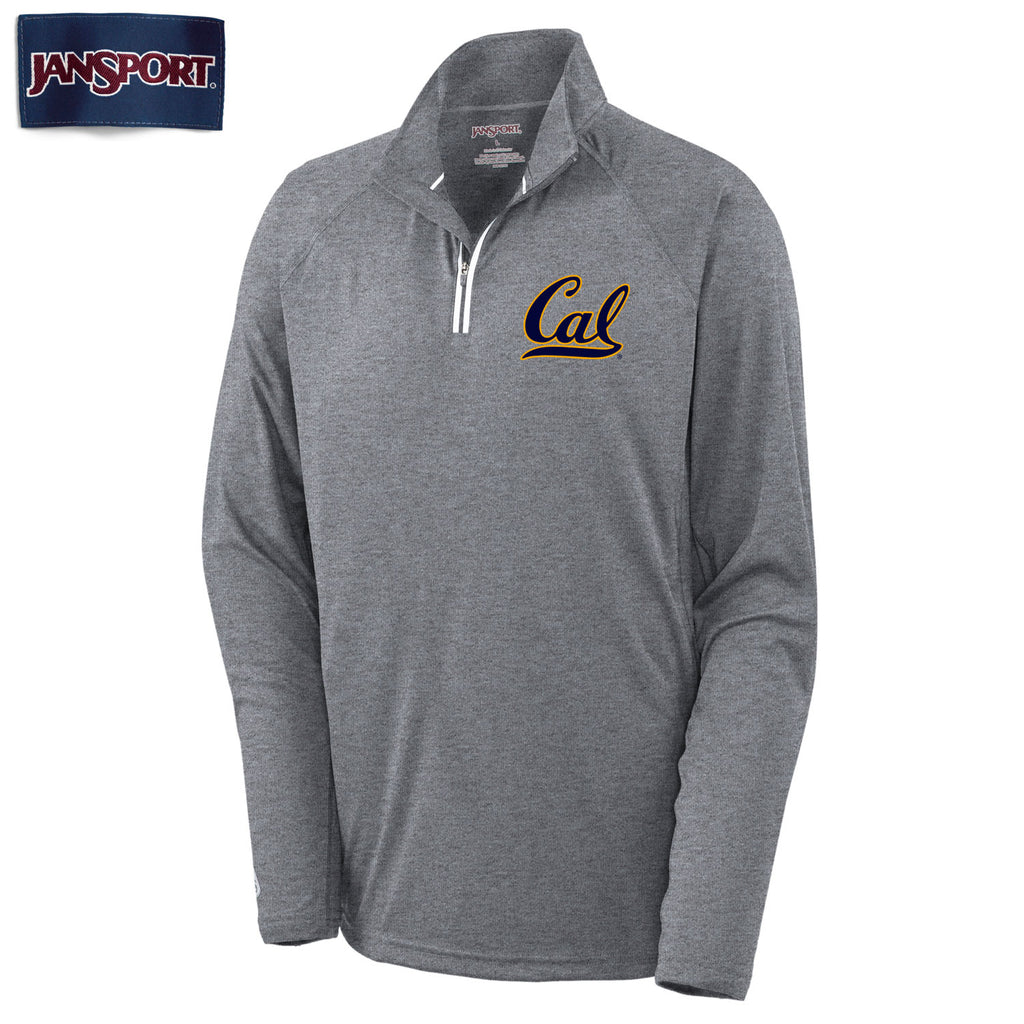 "UC Berkeley Cal Jansport Men's 1/4"" Zip-Shirt-Charcoal-Shop College Wear"