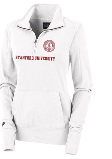 "Stanford Cardinal Women's 1/4"" Zip Sweatshirt-White"