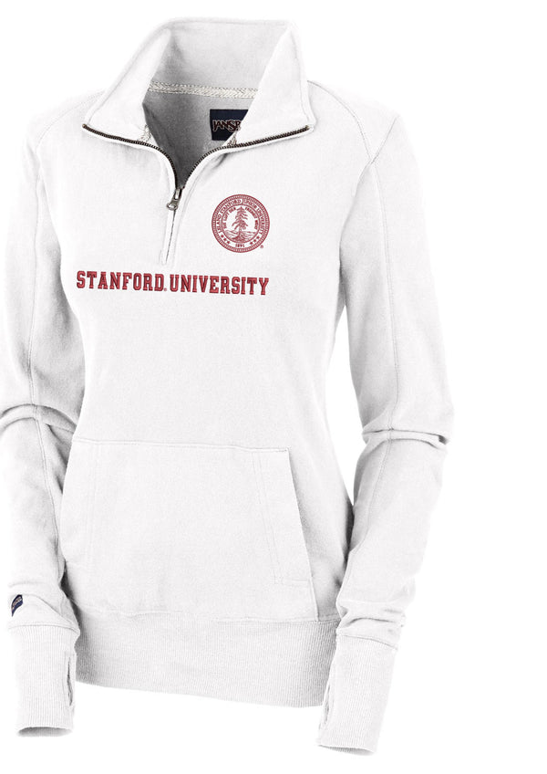"Stanford Cardinal Women's 1/4"" Zip Sweatshirt-White-Shop College Wear"