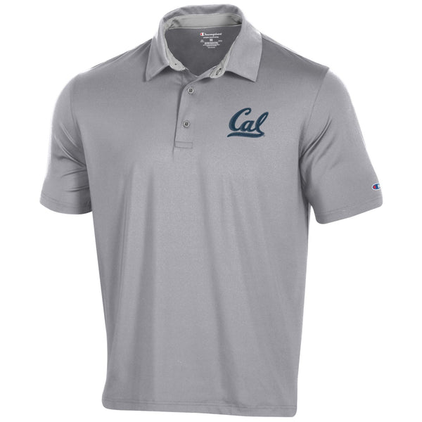 U.C. Berkeley Cal embroidered Champion Dry Performance Polo shirt-Gray-Shop College Wear