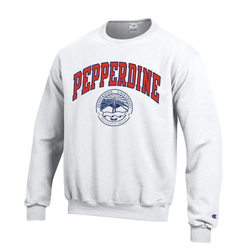 Pepperdine University Waves CrewNeck Sweatshirt-White