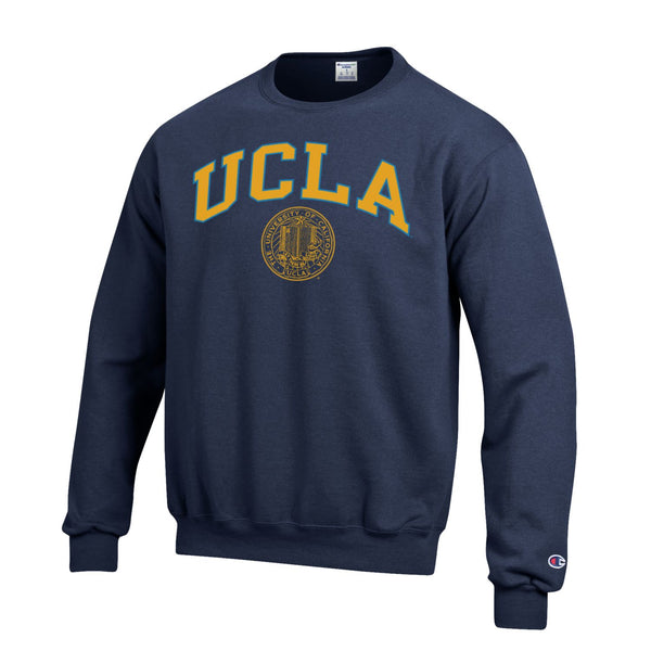 UCLA Block & Seal Crew Neck Sweatshirt-Navy-Shop College Wear