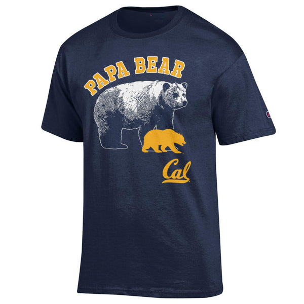 UC Berkeley Men's Papa Bear Champion T-Shirt - Navy-Shop College Wear