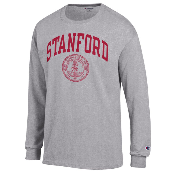 Stanford Cardinals Men's Champion Long Sleeve T-Shirt-Gray-Shop College Wear