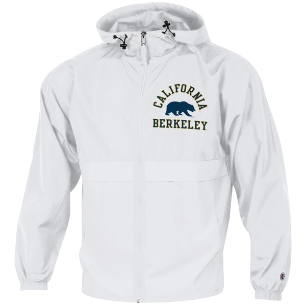 UC Berkeley Cal Champion Men's Windbreaker Jacket-White-Shop College Wear