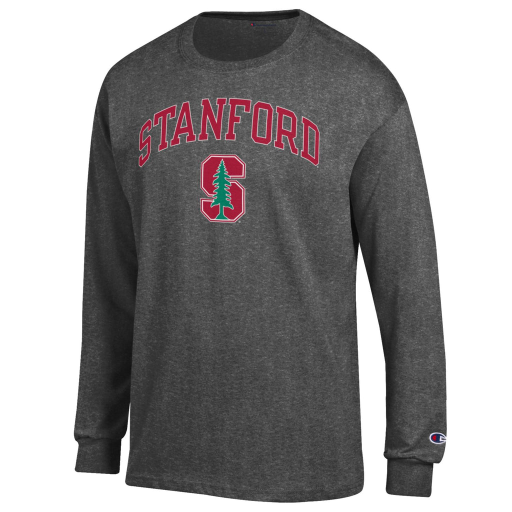 Stanford Cardinals Men's Champion Long Sleeve T-Shirt-Charcoal-Shop College Wear