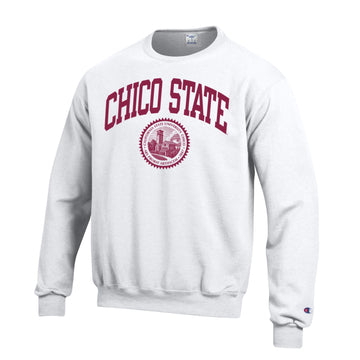 California State University Chico  Wildcats Arch & seal Crew-Neck Sweatshirt-White