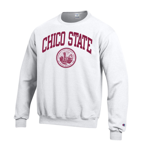 California State University Chico Wildcats Arch & seal Crew-Neck Sweatshirt-White-Shop College Wear