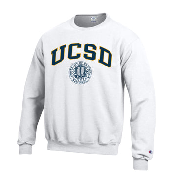 U.C. San Diego Tritons Block & Seal Champion Crew-Neck Men's Sweatshirt-White
