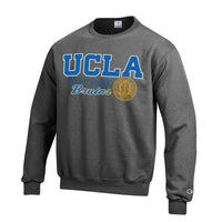 U.C.L.A. Bruins Cursive Champion Crew-Neck Sweatshirt-Charcoal-Shop College Wear