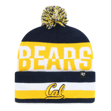 U.C. Berkeley Cal Bears embroidered cuffed with pom knit hat beanie-Navy