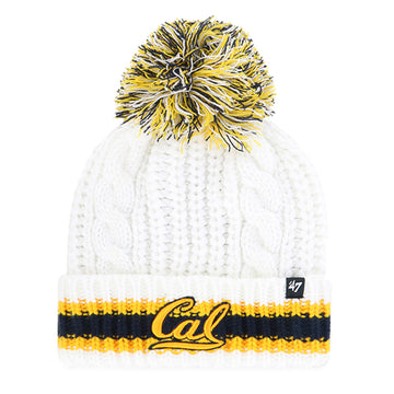 U.C. Berkeley Cal Bears cable knit cuff knit beanie hat-White