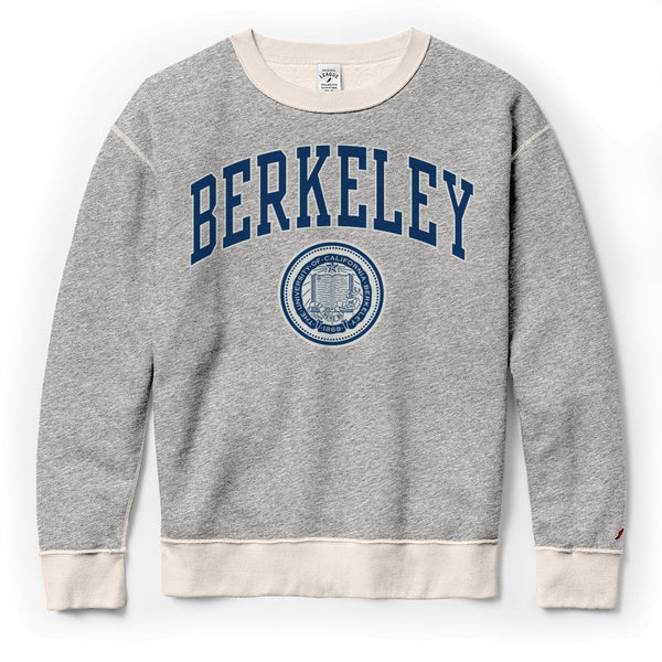 UC Berkeley Arch & Seal League Women's Crew-Neck Sweatshirt-Gray-Shop College Wear
