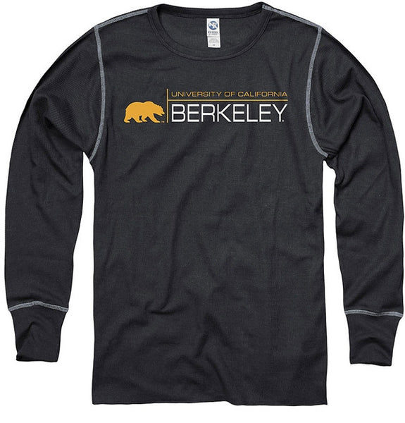 UC Berkeley Golden Bears Long Sleeve Mens Thermal - Black-Shop College Wear