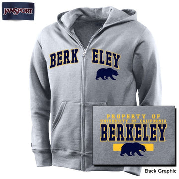 University Of California Berkeley JanSport Youth Zip Up Sweatshirt - Grey