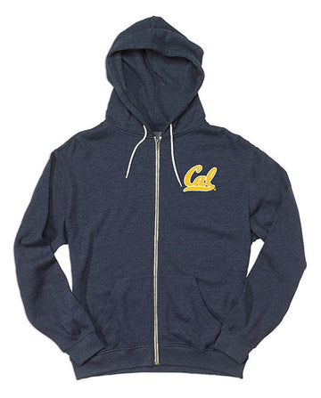 University Of California Berkeley Cal Embroidered Retro Heather Mens Zip Hoodie  - Navy