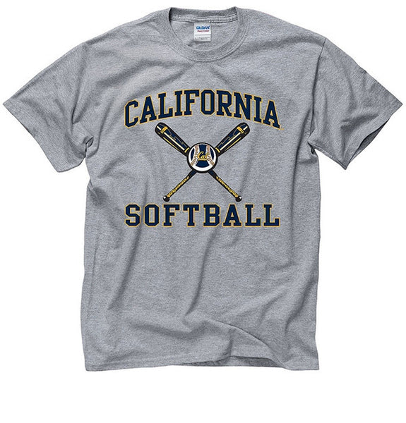 University Of California Berkeley Softball T- Shirt - Grey-Shop College Wear