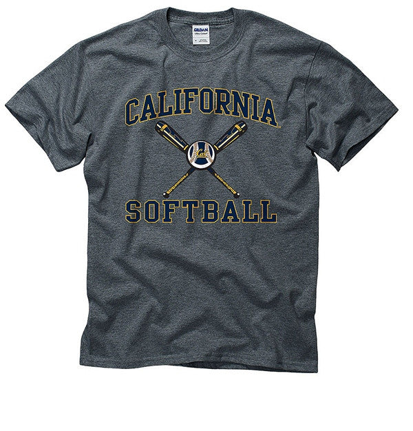 University Of California Berkeley Softball T- Shirt - Charcoal-Shop College Wear