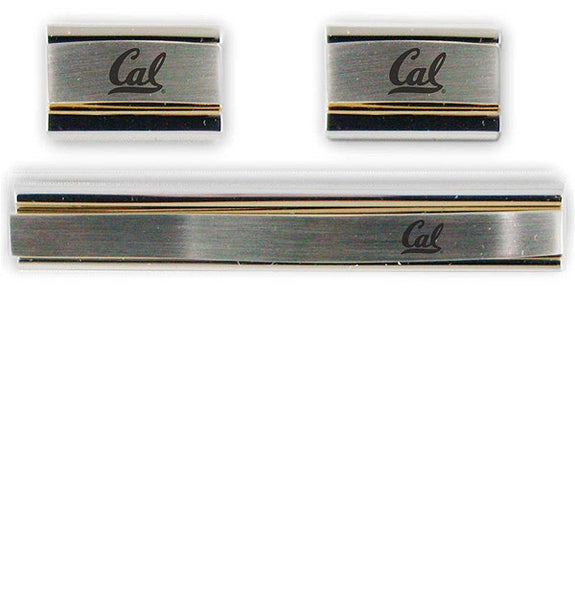 University Of California Berkeley Laser Engraved Cufflinks Set- Silver & Gold-Shop College Wear