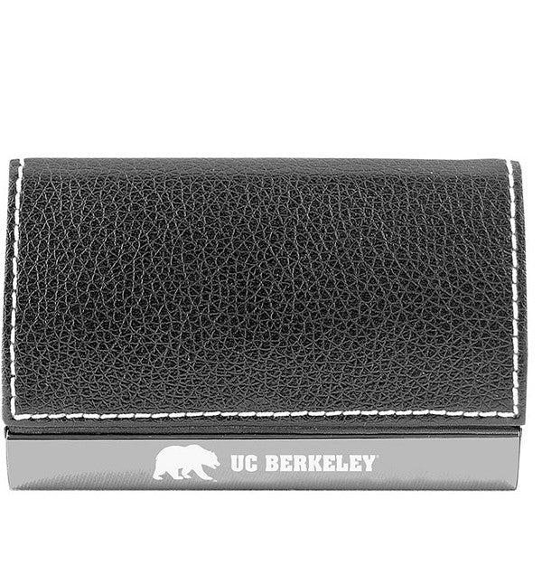 UC Berkeley Laser Engraved Business Card Holder- Silver-Shop College Wear