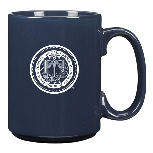 UC Berkeley School Seal Engraved Ceramic Coffee Mug 15 oz.-Navy-Shop College Wear