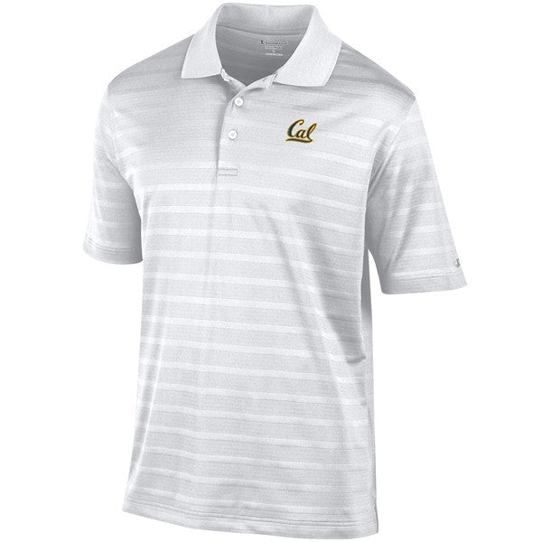 University Of California Berkeley Cal Embroidered Champion Textured Stripe Mens Polo- White-Shop College Wear