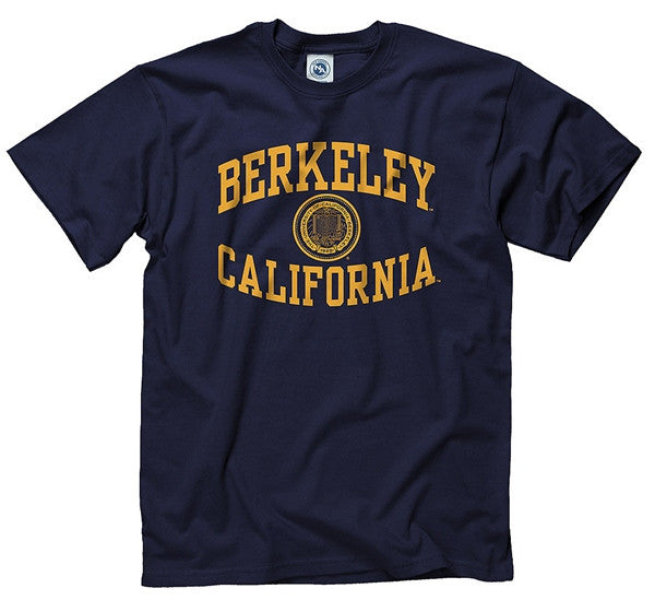 University Of California Berkeley Cal Inverted Arch & Seal Men's T- Shirt- Navy-Shop College Wear