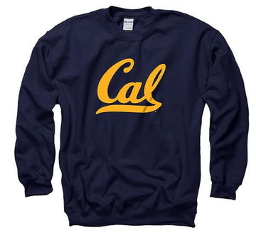 University Of California Berkeley Golden Bears Script Cal Crew Neck Mens Sweatshirts- Navy