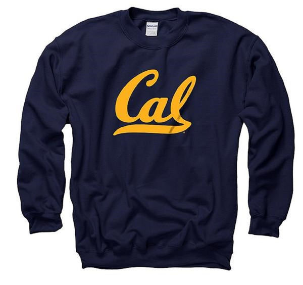 University Of California Berkeley Golden Bears Script Cal Crew Neck Mens Sweatshirts- Navy-Shop College Wear