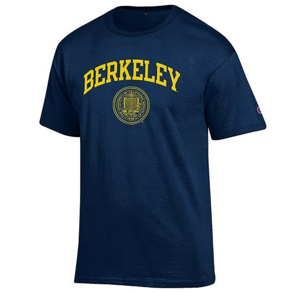 University Of California Berkeley Champion Arch & Seal Mens T-Shirt - Navy-Shop College Wear