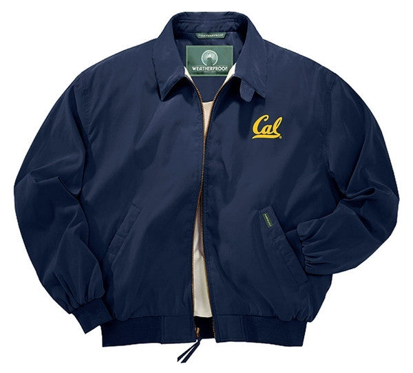 University Of California Berkeley Golden Bears Cal Embroidered Weatherproof Micro Fiber Jacket- Navy-Shop College Wear