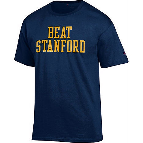 University Of California Berkeley Golden Bears Champion Beat Stanford Mens T- Shirt- Navy-Shop College Wear