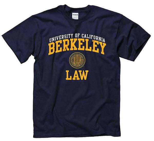 University Of California Berkeley Law Double Arch & Seal Mens T-Shirt - Navy-Shop College Wear