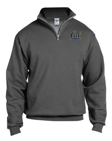 "University Of California Berkeley Cal Men's 1/4"" Zip Cadet Sweatshirt- Charcoal-Shop College Wear"