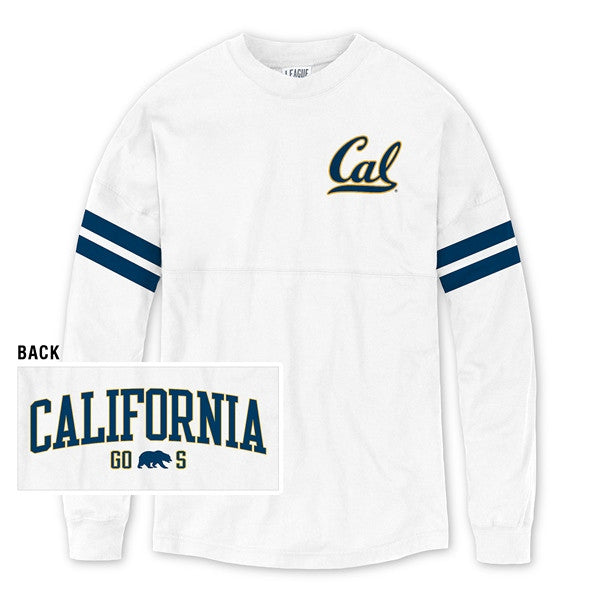 University Of California Berkeley League Cal Sporty Stripe RA RA Football Tee- White-Shop College Wear
