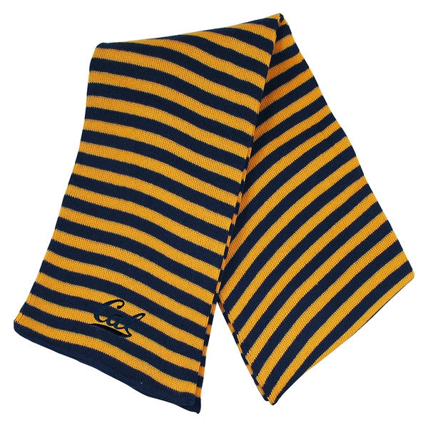 University Of California Berkeley Cal Bears Small Stripe Scarf- Navy Gold-Shop College Wear