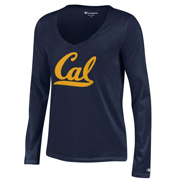 UC Berkeley Script Cal Champion Women V- Neck Long Sleeve T- Shirt- Navy-Shop College Wear