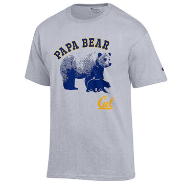 U.C. Berkeley Cal Dad Champion Papa Bear Mens T- Shirt- Grey
