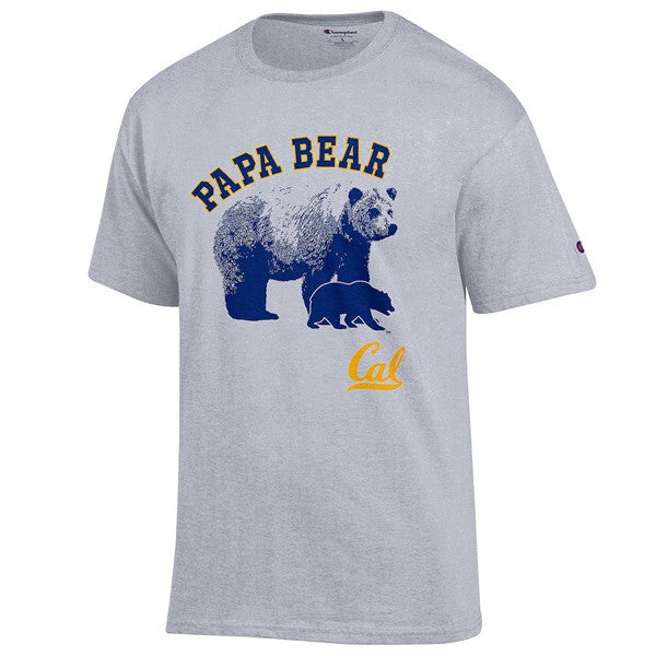 University Of California Berkeley Cal Champion Papa Bear Mens T- Shirt- Grey-Shop College Wear