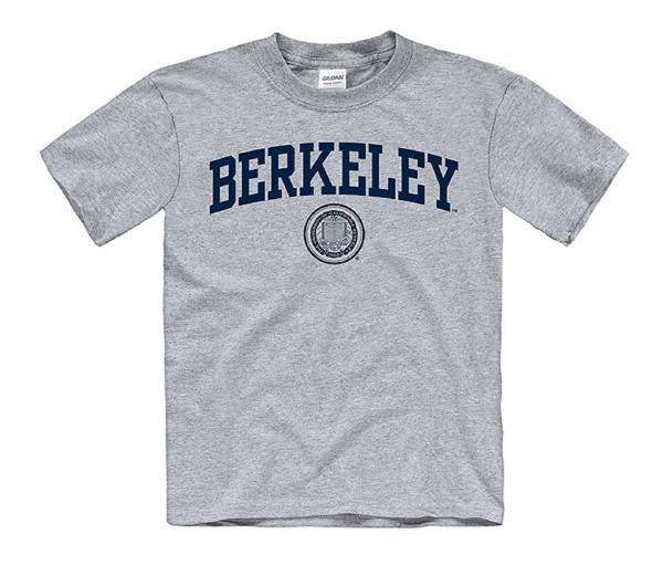 University Of California Berkeley Arch & Seal Youth T- Shirt- Grey-Shop College Wear