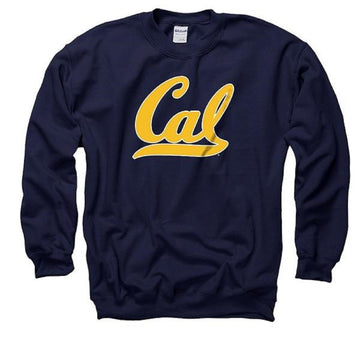 University Of California Berkeley Bold Script Mens Cal Crew Neck Sweatshirt- Navy