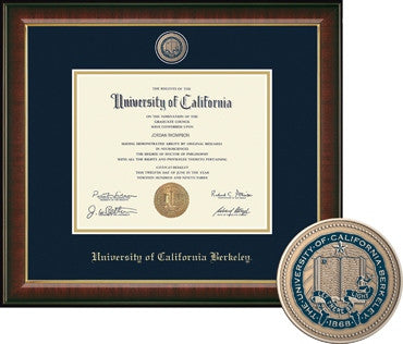University Of California Berkeley MEDALLION Masterpiece Murano Diploma Frame - NAVY-Shop College Wear