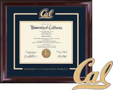 University Of California Berkeley Cal Medallion Spirit Pewter Encore Diploma Frame- NAVY-Shop College Wear