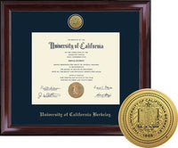 University Of California Berkeley Cal Medallion Engraved Encore Diploma Frame - NAVY-Shop College Wear