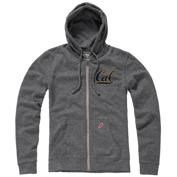 University Of California Berkeley Cal Men's League Tri Blend Zip- Up Sweatshirt- Grey-Shop College Wear