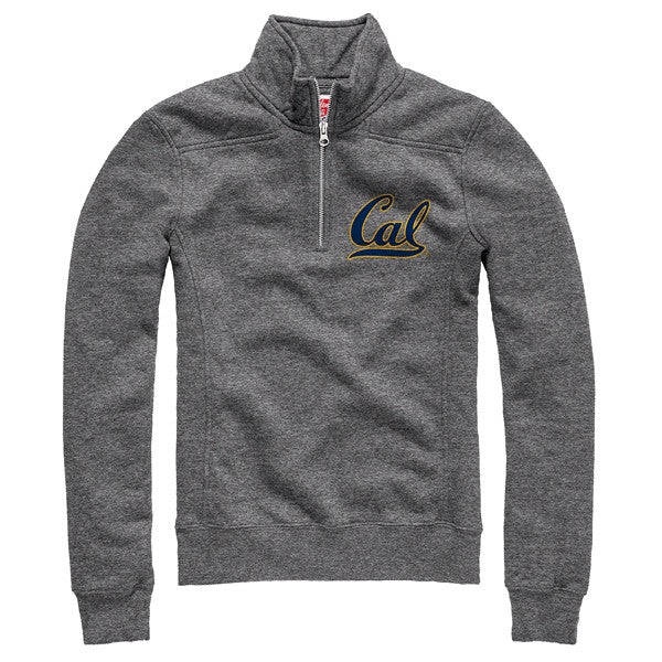 "University Of California Berkeley Cal League Women's 1/4"" Zip Tri Blend Sweatshirt- Grey-Shop College Wear"