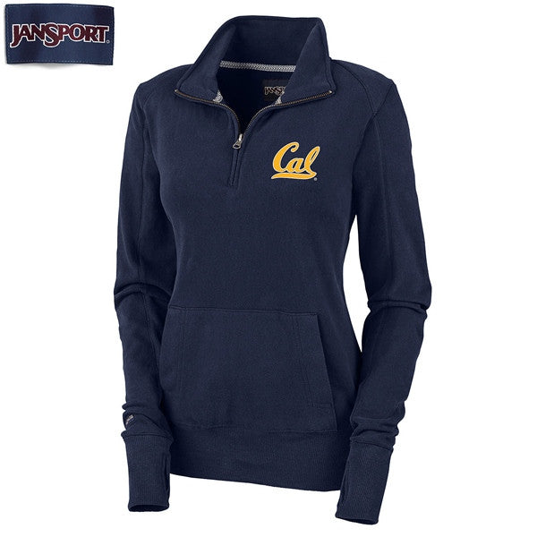 "University Of California Berkeley Golden Bears Cal Jansport Women's 1/4"" Zip Sweatshirt- Navy-Shop College Wear"