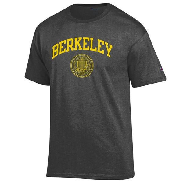 University Of California Berkeley Arch & Seal Champion Men's T- Shirt- Charcoal-Shop College Wear